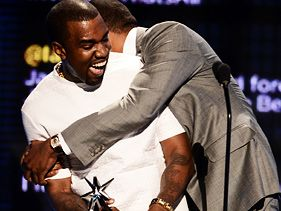 Kanye West and Jay-Z earlier in the night at the 2012 BET Awards