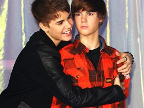 Justin Bieber with his wax figure in London on Tuesday
