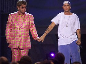 Elton John and Eminem at the 2001 Grammy Awards