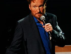 "Conan O'Brien performs at his ""Legally Prohibited"" tour in Eugene, Oregon, on Monday"