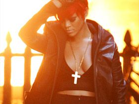 "Rihanna performs in front of a burning house while filming a music video with Eminem for ""The Way You Lie"" on July 20"