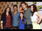 "Stephenie Meyer, Taylor Lautner, Mackenzie Foy, Robert Pattinson and Kristen Stewart attend the ""Breaking Dawn"" panel"