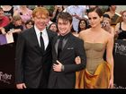 "Rupert Grint, Daniel Radcliffe and Emma Watson attend the New York City premiere of ""Harry Potter and the Deathly Hallows, Part 2"" on July 7, 2011"